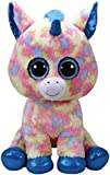 TY 36890 Blitz Unicorn with Glitter Eyes, Plush Beanie Boo Plush Soft Toy – Blue/Multicoloured 42 cm