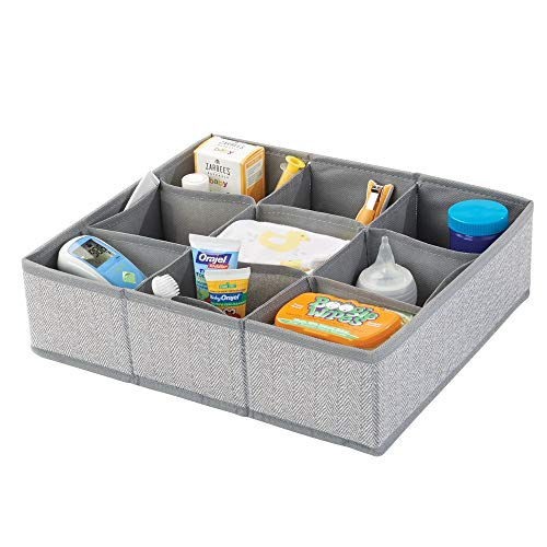 mDesign Soft Fabric 9 Section Dresser Drawer and Closet Storage Organizer for Child/Kids Room, Nursery, Playroom - Divided Large Organizer Bin - Herringbone Print with Solid Trim - Gray