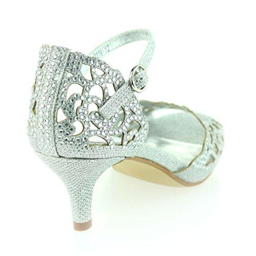 Frau Damen Offener Zeh Fesselriemen Diamante Mittlere Ferse Abend Party Hochzeit Silber Sandale Schuhe Größe 39