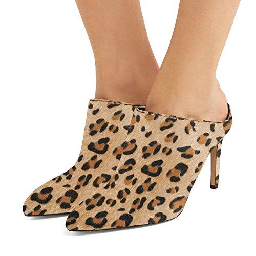 Fsj Donne Slip On Chiuso Muli Sandali In Finta Pelle Scamosciata Stiletto Tacchi Alti Scarpe Classiche Taglia 4-15 Us Leopard
