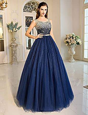 HY&OB Ball Gown Princess Jewel Neck Floor Length Tulle Formal Evening Dress With Beading Crystal Detailing