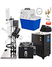 VEVOR 5L Rotary Evaporator 0-90rpm Rotary Evaporator kit with Vacuum Pump and Chiller with Manual Lift 0-180°C 0.098mpa,Black