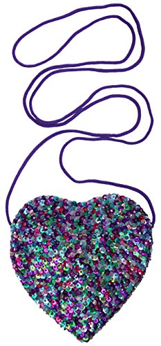 (Back From Bali Little Girls Small Heart Shaped Bag with Strap Sequins (Multicolored)