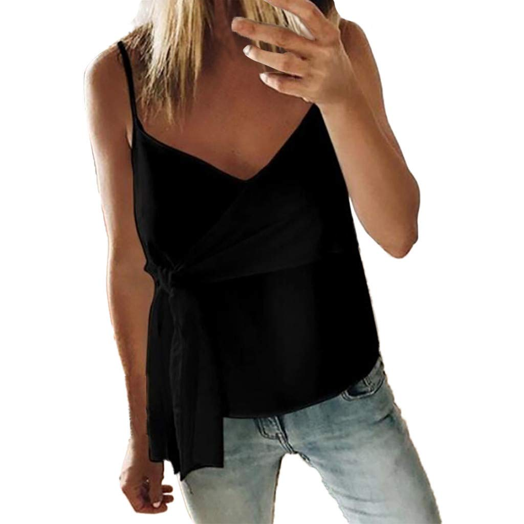 Fashion Womens Tnak Tops Casual Sleeveless Ruffle Solid Bandage V-Neck Camisole (M, Black)