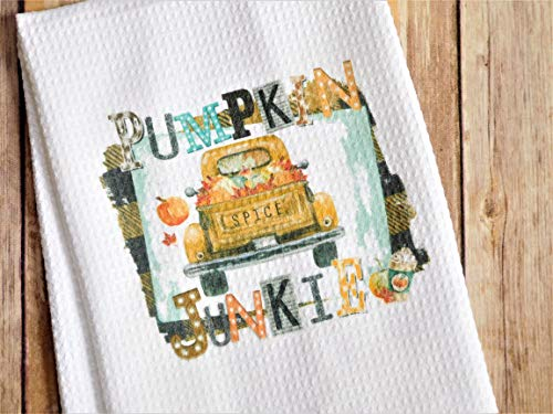 Kitchen Dish Towel - Pumpkin Spice Junkie - Christmas Gift for Best Friend or Sister from Sticks, Hooks, and Yarn