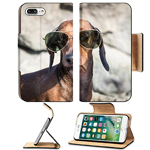 MSD Premium Apple iPhone 7 Plus Flip Pu Leather Wallet Case IMAGE ID 35379153 Dachshund dog with sunglasses at sea put in a - Sunglasses Depot