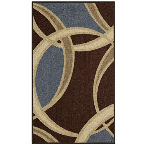 Maples Rugs Kitchen Rug - Circle 1'8 x 2'10 Non Skid Washable Throw Rugs [Made in USA] for Entryway and Bedroom, Coffee - Transitional Coffee Rug