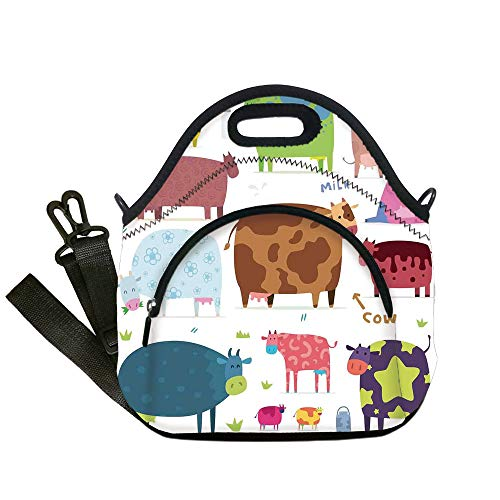 Insulated Lunch Bag,Neoprene Lunch Tote Bags,Kitchen Decor,Cartoon Cows Colorful Barnyard Animals Bucket Cafe Home Design Pattern Art,White Brown Pink Blue,for Adults and children