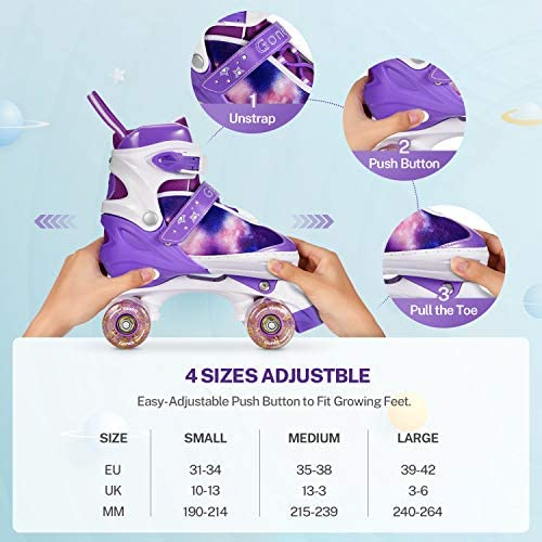 Gonex Pattini a Rotelle Regolabili per Bambini//Adulto,4 Ruote Illumina LED Sicuri,Veloci e Comodi Roller Quad Ideali per Principianti Adulti Donna Taglia EU 31-42