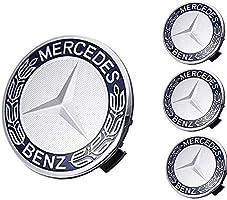 Blue Laurel Wreath Sparkle-um 9-Piece Set 75mm Mercedes Benz Emblem Badge Wheel Hub Caps Centre Cover Tire Valve Stem Caps Cover with Mercedes Keychain for Mercedes Benz.