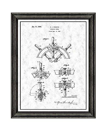 Gunmetal Steering Wheel - Boat's Steering Wheel Patent Art Gunmetal Print with a Border in a Black Wood Frame (20