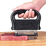 MISSALIS Meat Tenderizer with 48 Stainless Steel Blades, Kitchen Cooking Tool for Tenderizing Beef, Turkey, Chicken, Steak, Pork, with Cleaning Brush