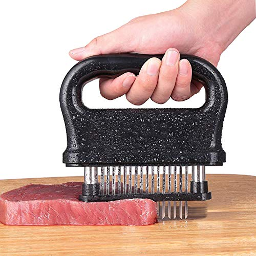(MISSALIS Meat Tenderizer with 48 Stainless Steel Blades, Kitchen Cooking Tool for Tenderizing Beef, Turkey, Chicken, Steak, Pork, with Cleaning Brush)