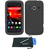 For ZTE Concord 2 II Z730 Silicone Gel Skin Soft Flexible Phone Protector Cover Case with Stylus Pen and ApexGears (TM) Phone Bag (Black)