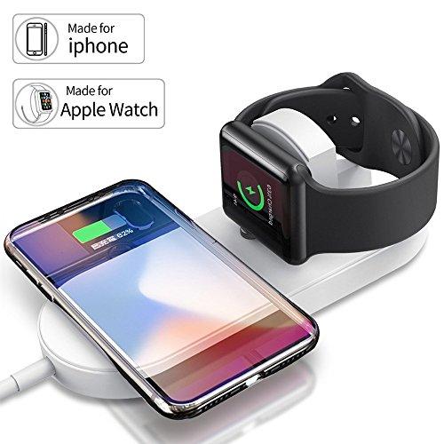 Ocamo 2 en 1 rápido inalámbrico USB Pad teléfono Adaptador Qi Cargador inalámbrico Carga rápida para Apple Watch 3...