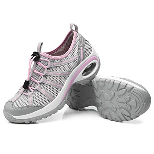 Shoes Gym Slip Grey Walking Women Shoes Enerhu for Breathable Sneakers Athletic Sport Lightweight on Mesh Running azZxwOqA