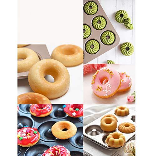 Doughnut Baking Tin, 12 Hole Doughnut Mold, Carbon Steel Cookie Mould, Non-stick DIY Homemade Cake Bake Tray Biscuit Bagel Baking Tool(black) by YOEDAF (Image #7)