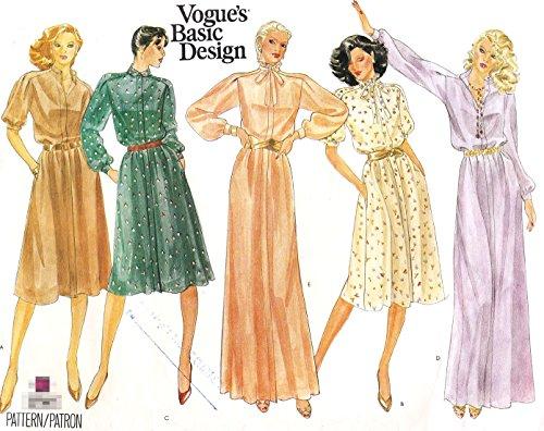 (Vogue vintage sewing pattern 2741 saddle shoulder dress - Size 14)