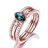 Turquoise Rose Gold Engagement Ring Set 4x6mm Marquise Cut CZ Diamond Stacking Band Unique Matching Sets