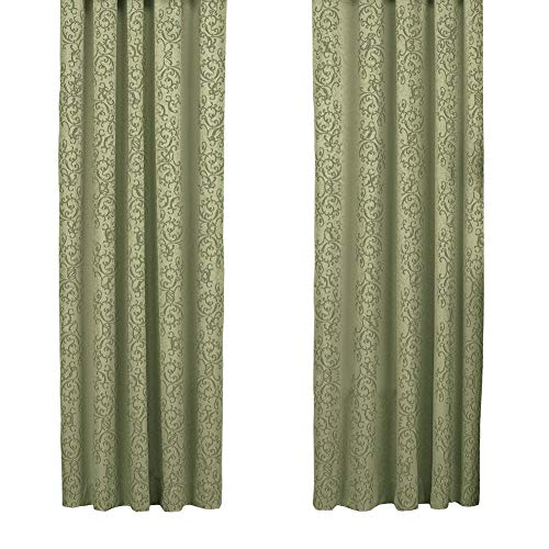 Collections Etc Elegant Insulated Scroll Pattern Window Curtain Panel with Rod Pocket Top, Sage, 50