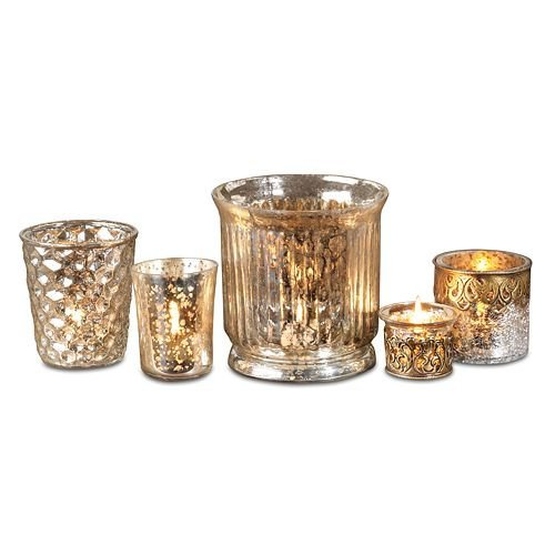 Christmas Tablescape Decor - Gorgeous old world champagne gold mercury glass votive candle holder 5-piece set