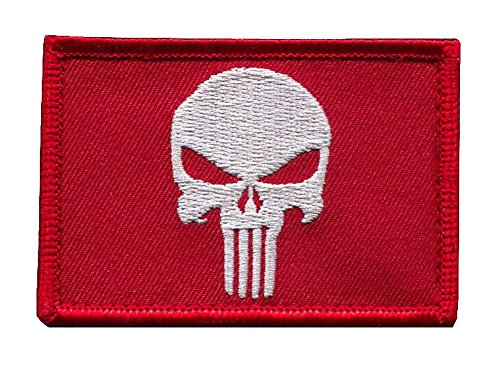 Velcro Red White Holiday Edition Punisher Flag  Tactical Ope
