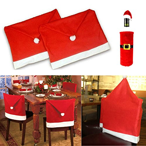 Generic Santa Clause Red Hat Chair Back Cover Christmas Dinner Table Party Decor for Christmas(8pcs)+1pcs Christmas Wine Bottle Cover - Ribbon Chair Cover