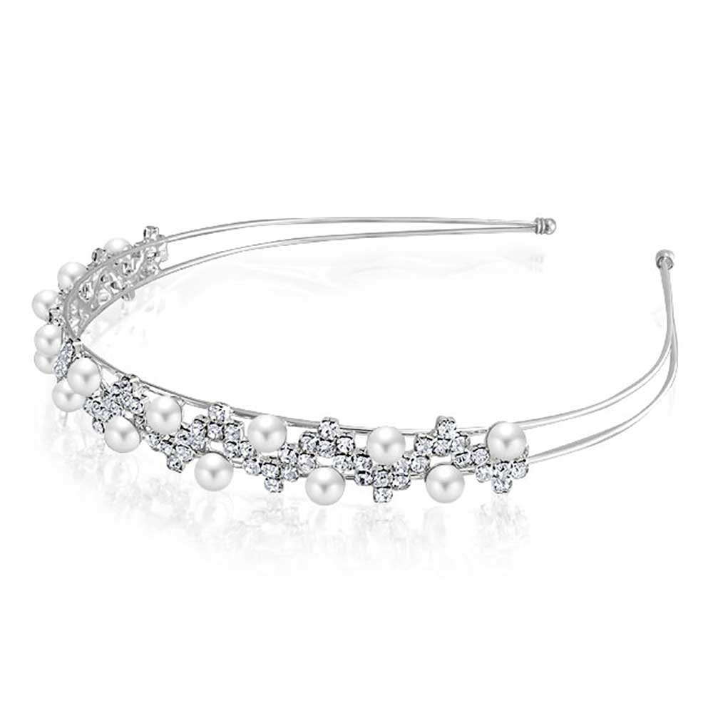 Bling Jewelry vague Rhinestone Pearl simulé en plaqué rhodium bandeau FAJ-CSH00369
