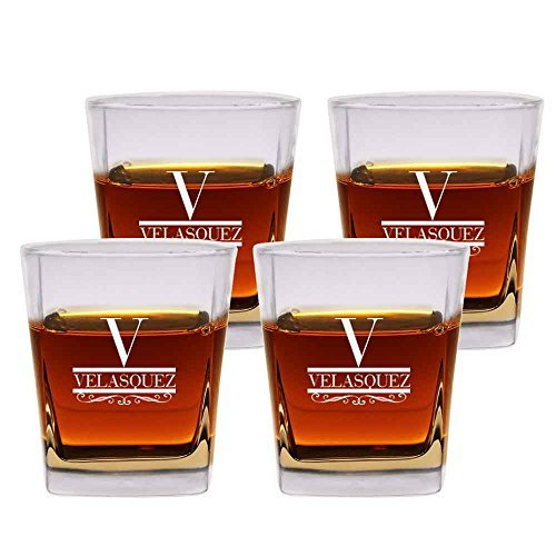 Personalized Rocks Glasses (scotch Glasses Old Fashioned Set of 4 by Froolu Personalized Engraved Scotch 12 oz. Double Rocks Whiskey/Old)