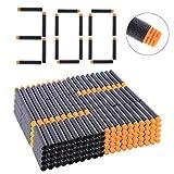 Goshfun 300Pcs High Buffered Refill Foam Darts Foam Bullets for Nerf N-Strike Elite Blaster - Orange Head + Black Sponge