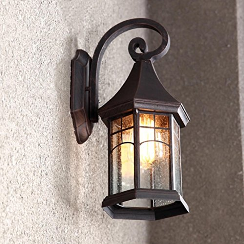 MOMO Continental Retro Outdoor Wall Lamp Waterproof Outdoor Garden Lights Lamps Creative American Balcony Stairs Facades Wall,Antique Color
