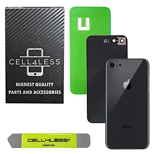 CELL4LESS Back Glass Cover OEM Battery Door Replacement w/Installed Camera Frame & Lens, Adhesive & Removal Tool for Apple iPhone 8 (Space Grey 8)