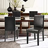 Set of 2 – Dark Brown Bonded Leather Side Parson Chair Wood Legs Cushion Seat and Back for Dining Room Accent Modern Chairs Review