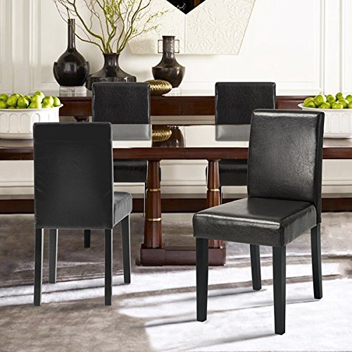 Set of 2 - Dark Brown Bonded Leather Side Parson Chair Wood Legs Cushion Seat and Back for Dining Room Accent Modern Chairs (Bonded Leather Parson Chair)