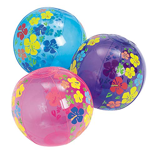 Fun Express - Mini Hibiscus Print Beach Balls - Toys - Inflates - Mini Beach Balls - 12 Pieces