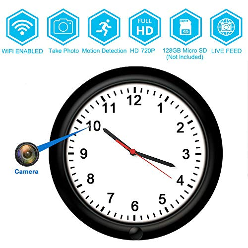 720P Wall Clock WiFi Surveillance Video Recorders Camera -BSTCAM 10inch 365 Days Long Standby Motion Detector Record P2P IP Nanny Hidden Wall Clock Camera Support 128GB SD Card [Video Only]