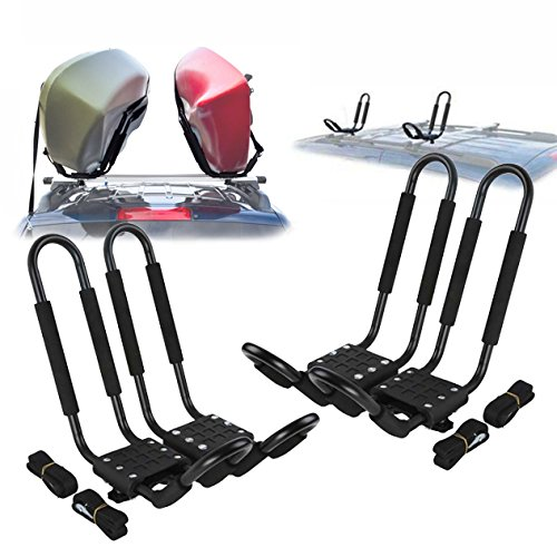 Ediors-2-Pairs-J-Bar-Rack-HD-Kayak-Carrier-Canoe-Boat-Surf-Ski-Roof-Top-Mount-Car-SUV-Crossbar