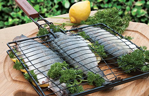 Charcoal Companion SS-100-40 Triple Fish Grilling Basket / 11 by 11 inches – Barbecue Fish Easily - coolthings.us