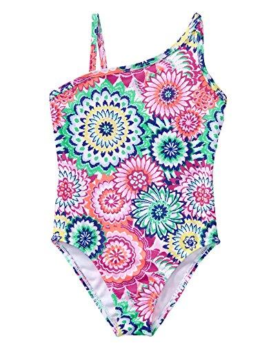 Gymboree Little Girls' 1-Piece Geo Flower Swimsuit, Bright Rose, M