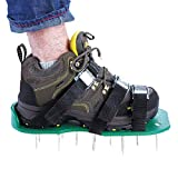 Lawn Aerator Shoes 6 Adjustable Straps Aluminium Alloy Buckles, 1 Extra Wrench - Spiked Sandals Shoes Garden Tool - One Size Fits All