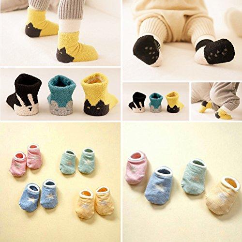 7 pairs Animal Anti-Slip Grip Soles Toddler Socks Cotton Unisex Baby Crew Sock,0-2 years,2-4 years 60%OFF