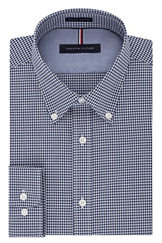Tommy Hilfiger Men's Non Iron Slim Fit Gingham Buttondown Collar Dress Shirt, Navy, 16.5