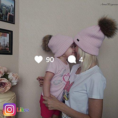 FURTALK Winter Knit Pom Pom Hat Angora Wool Beanie Hats for Women Kids Toddler by