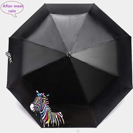 Parasol plegable de vinilo con diseño de cebra que cambia de color ...