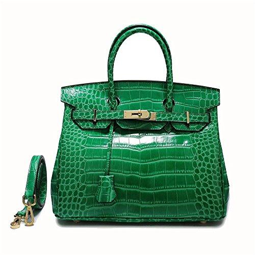 Xuanbao Bolso de Mano de Hombro Simple Diagonal Bolso de Mano Simple de cocodrilo atmosférica (Color : Gris) Verde