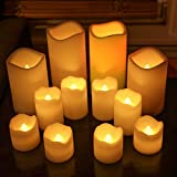 12 Ivory Resin Flameless Candles, Amber and Color Changing LEDs, Assorted Sizes, Indoor/Outdoor Use, Batteries Included
