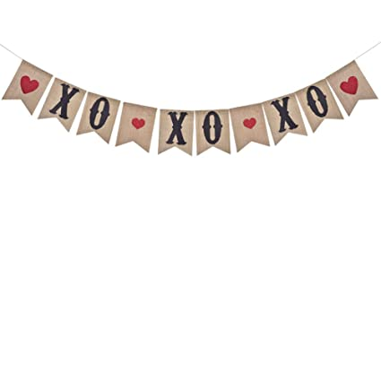Amazoncom Valentines Day Decoration Xoxo Burlap Banner With Red
