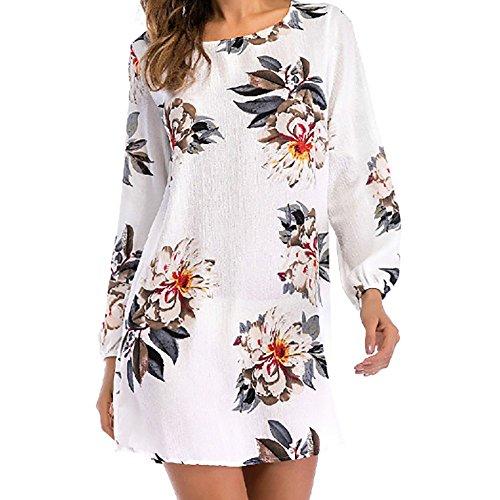 Print Long Sleeved Dress (Sattaj Flower Printed 2018 New Spring Summer Dress Women Dress Vestidos Round Collar Long Sleeved Backless Bow Print Dress Femme (L, White))