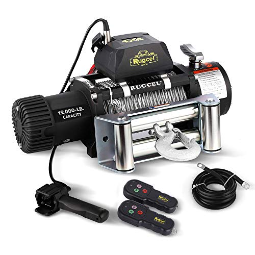 2 Wire Remote - RUGCEL WINCH Waterproof IP68 Electric Winch with Hawse Fairlead,Steel Wire Rope, 2 Wired Handle and 2 Wireless Remote (12000 lb.Load Capacity)