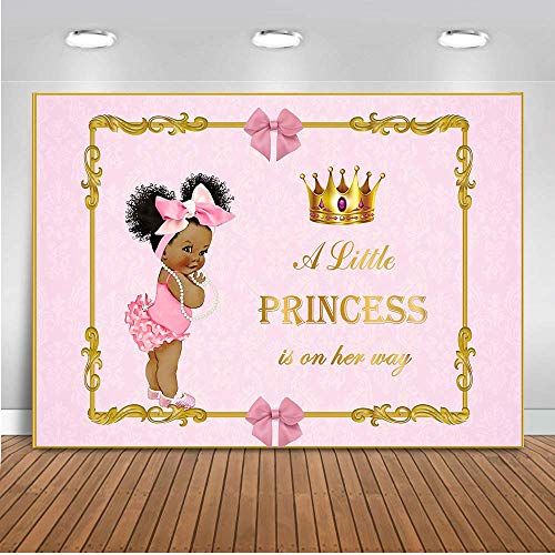 Mehofoto Royal Baby Shower Backdrop Little Princess Pink Bow Photography Background 7x5ft Vinyl Royal Pink Girl's Baby Shower Party Banner Backdrops]()